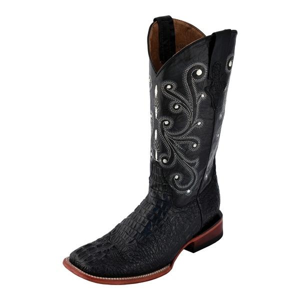 be1e879cbb0 Ferrini Western Boots Mens Cowboy Caiman Gator Print Black