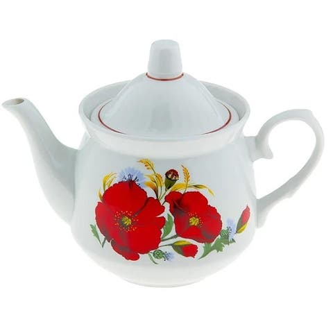 STP Goods Red Poppies 19-Oz Porcelain Teapot