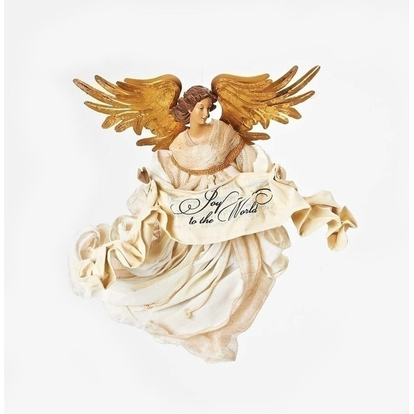 """15"""" Joy to the World Large Elegant Flying Angel with Gold Wings and Banner Christmas Ornament - WHITE"""