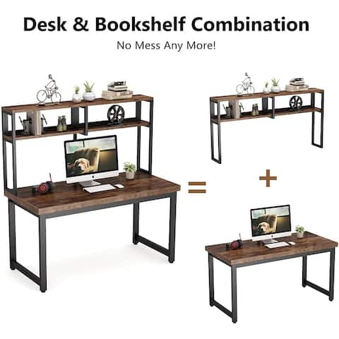 55 Inch Solid Wood Computer Desk with Hutch