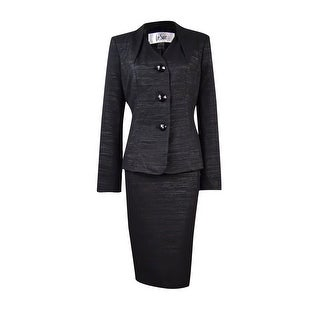 Le Suit Women's Metallic Stripe Skirt Suit