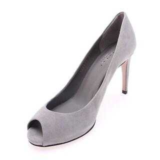 Gucci Women's Suede Peep Toe Pump Grey