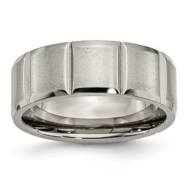 Titanium Notched 8mm Grooved Satin Band