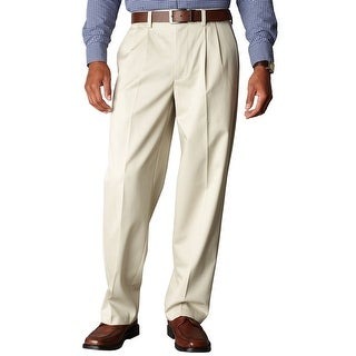 Dockers Signature Khaki Relaxed Fit Pleated Chinos Pants Sand 32 x 32