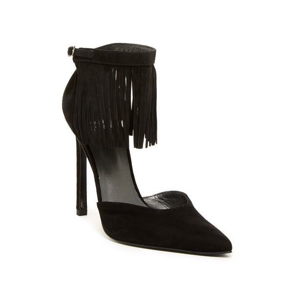 Stuart Weitzman NEW Black Women's Shoes Size 7.5M Fringelica Pump
