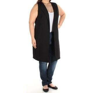 Womens Black Sleeveless Open Cardigan Top Size L