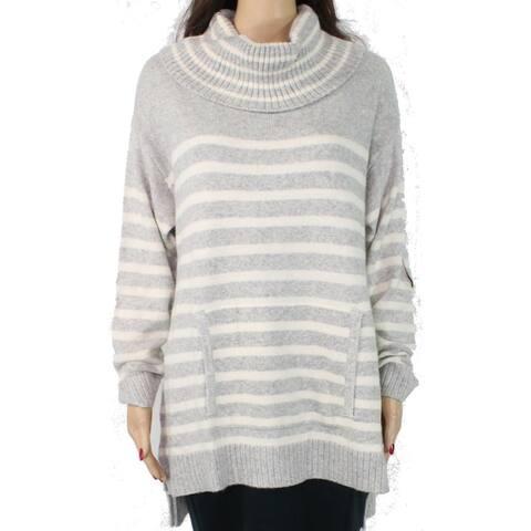 Charter Club Women's Sweater Gray Size 1X Plus Turtleneck Striped