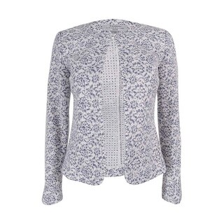 Tahari ASL Women's Petite Lace Jacket - White/Blue