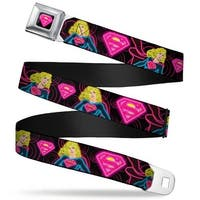 Electric Supergirl Shield Full Color Black Hot Pink Yellow Electric Seatbelt Belt