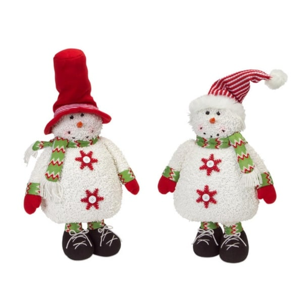 Set of 2 Chenille Snowmen with a Red and White Striped Hat 30""