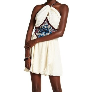 Free People Ivory Womens Halter Embroidered Sheath Dress
