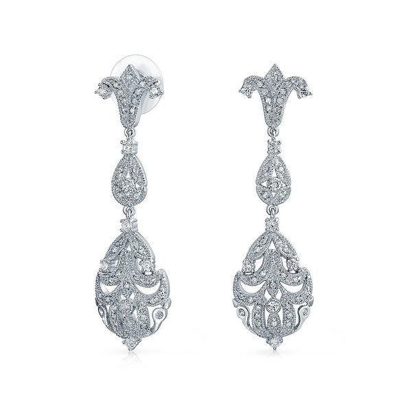 Bling Jewelry Clear Cz Vintage Style Chandelier Earrings Rhodium Plated Br