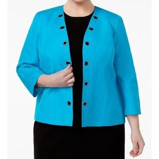 Kasper NEW Blue Grotto Women's Size 16W Plus Grommet-Trim Jacket