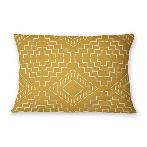 INES GOLD Indoor Outdoor Lumbar Pillow By Becky Bailey