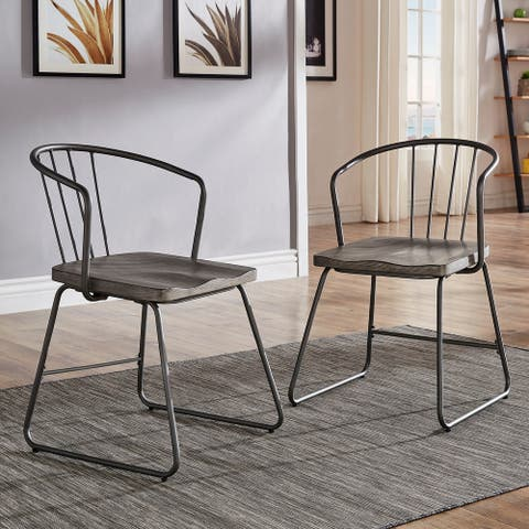 Carbon Loft Amalfi Iron and Grey Finish Dining Chair (Set of 2)