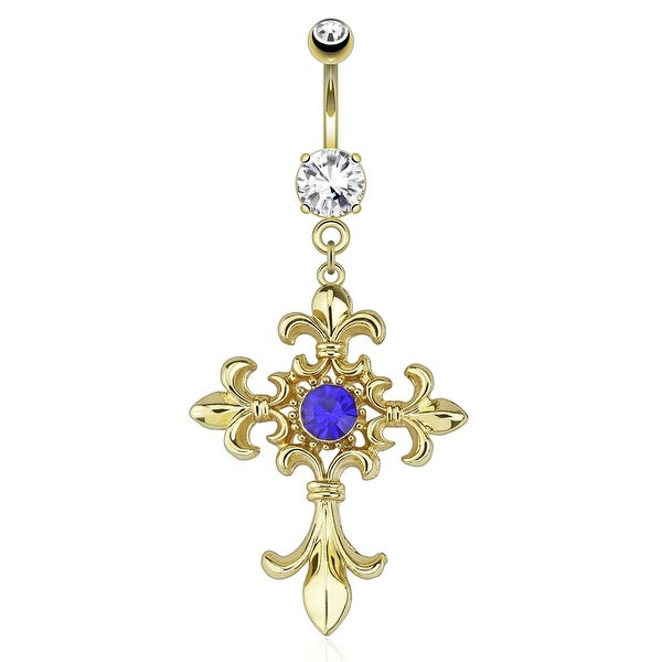 Fleur De Lis Cross With Centered Blue Gem Dangle gold-plated Navel Belly Button Ring