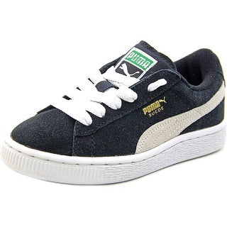 Puma Suede Jr Youth Round Toe Suede Black Sneakers