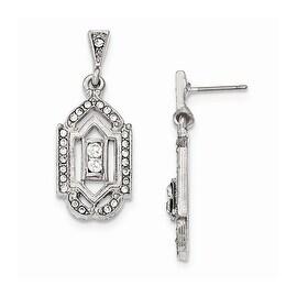 Silvertone Downton Abbey Frosted Glass Crystal Shepherd Hook Dangle Earrings
