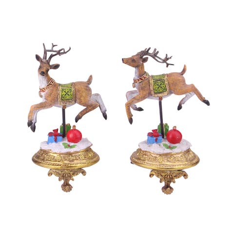 Set of 2 Brown and White Glittered Reindeer Christmas Stocking Holders 9.25""