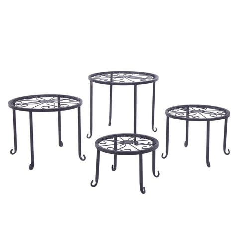 Coutlet Home Modern Flower Pot Plant Stands Plant Shelves with 4-1 Round Pattern in Black Baking Paint(Set of 4)