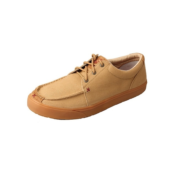 HOOey Casual Shoes Mens Rubber Loper Lace Up Gold Buckle Khaki MHYC007