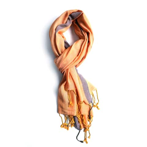 Handwoven Artisan Orange Scarf Stole with Gray Block Stripe and Tassels