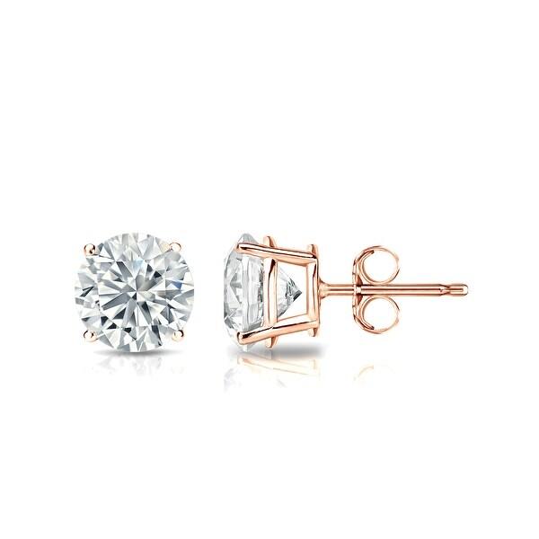 Auriya 14k Rose Gold 4-Prong Basket Round Diamond Stud Earrings (1/4 - 2 ct TDW, G-H, SI1-SI2) Push-Back