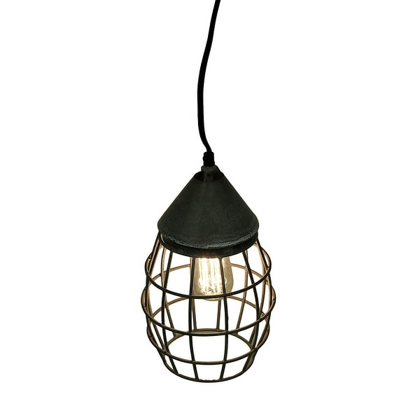 Small Farmhouse Wire Cage Light Pendant in Weathered Zinc - Free ...
