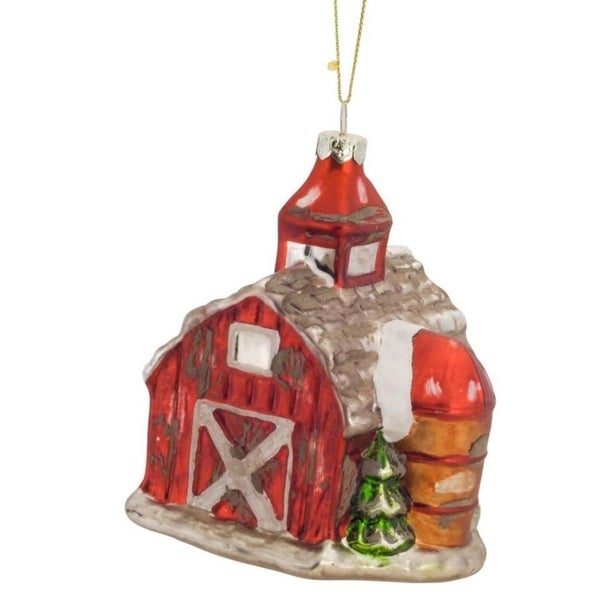 Pack of 6 Decorative Glass Red and White Farm Barn Ornament