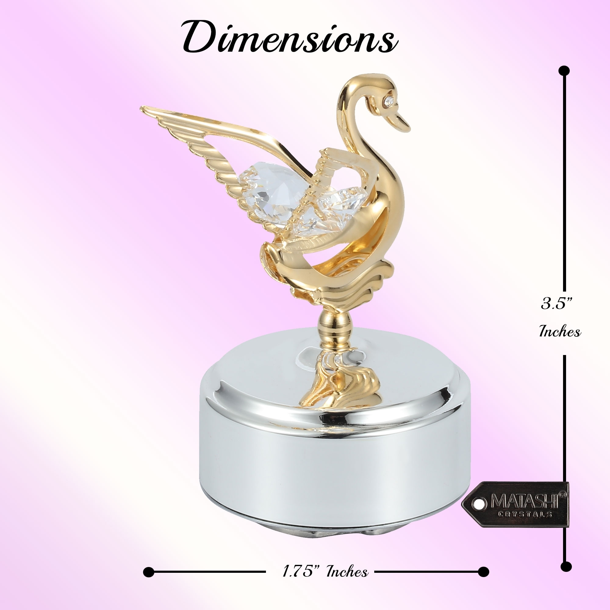 Matashi Home Decorative Showpiece 24k Gold Plated Music Box With Crystal Studded Swan Figurine Overstock 30264351
