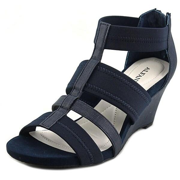 Alfani Mavenn Women Open Toe Synthetic Blue Wedge Sandal