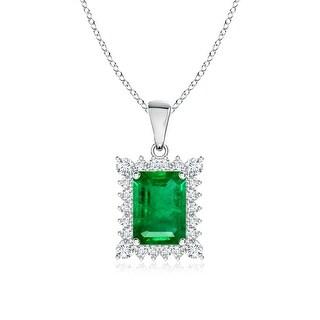 Angara Vintage Diamond Halo Emerald Cut Emerald Pendant - White