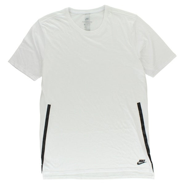 21ade0b9 Shop Nike Mens Bonded Mesh Back Droptail T Shirt White - White/Black - Free  Shipping On Orders Over $45 - Overstock - 22614708