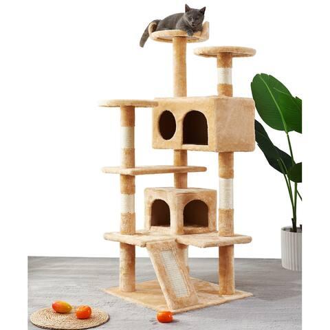 Multi-layer cat tree scratching board , cat climbing column covered