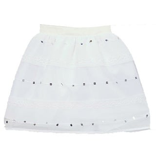 Girls White Sparkle Sequin Detail Embroidered A-Line Skirt 7-10