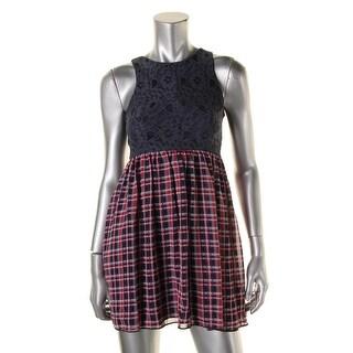 Emerald Sundae Womens Juniors Lace Plaid Casual Dress - 3