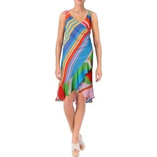 Lauren Ralph Lauren Womens Petites Casual Dress Striped Asymmetrical