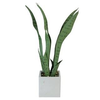 """21"""" Artificial Succulent Plant in Decorative White Ceramic Square Pot - Green"""