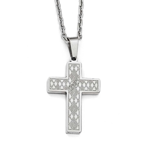 Chisel Stainless Steel Polished & Textured CZ Cross Necklace - 20 in