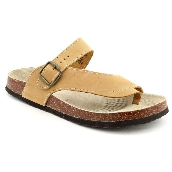White Mountain Carly Women Open Toe Leather Tan Thong Sandal