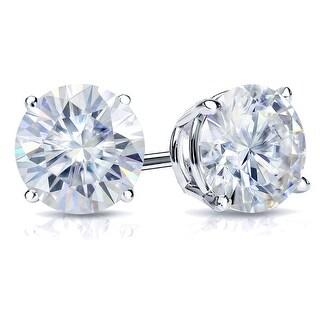 Link to Auriya 3ct TW Round Moissanite Stud Earrings Platinum - 7.4 mm, Screw-Backs - 7.4 mm, Screw-Backs Similar Items in Earrings