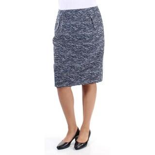 TOMMY HILFIGER $79 Womens New 1062 Blue Textured Knee Length Pencil Skirt 12 B+B