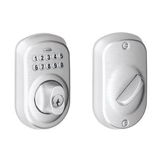Schlage BE365 PLY 626 Plymouth Keypad Deadbolt, Satin Chrome