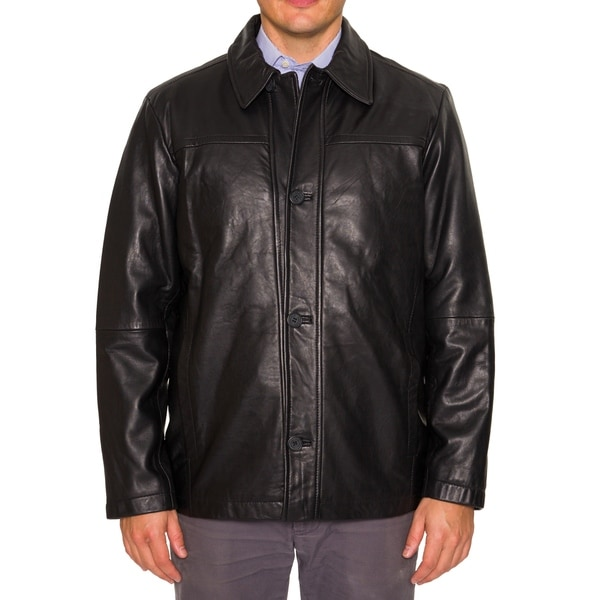 Perry Ellis Mens Leather Coat