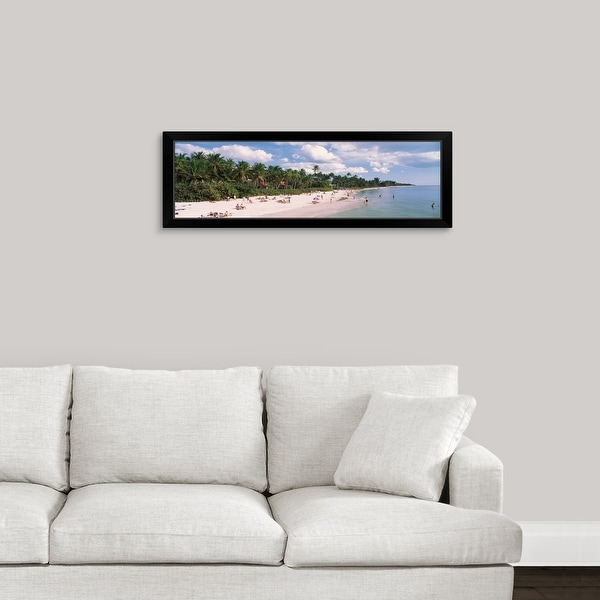"""Tourists on the beach, Naples, Gulf of Mexico, Florida"" Black Framed Print"