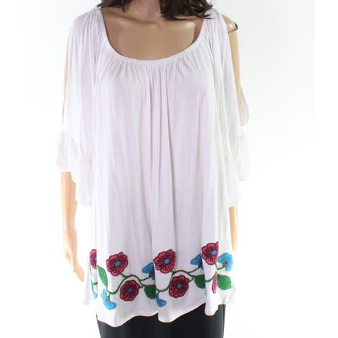 Cupio Women's White Size 2X Plus Floral Embroidered Spli Sleeve Blouse