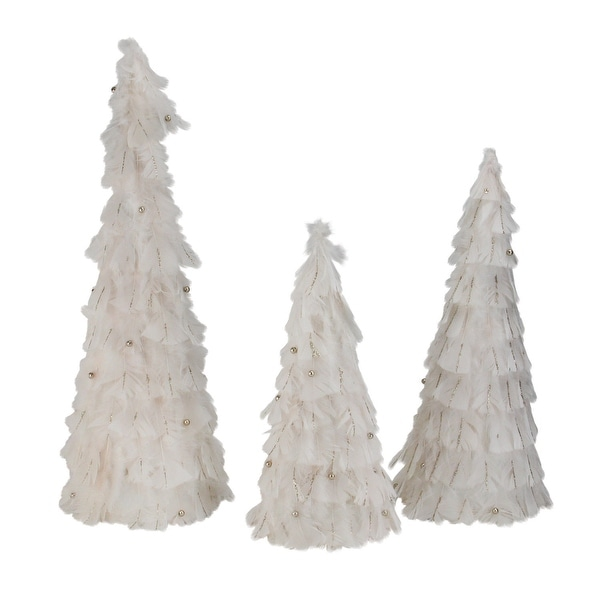 """Set of 3 Blush Feather Cone Tree Christmas Decorations 15""""-18.5""""-23.5"""" - GOLD"""