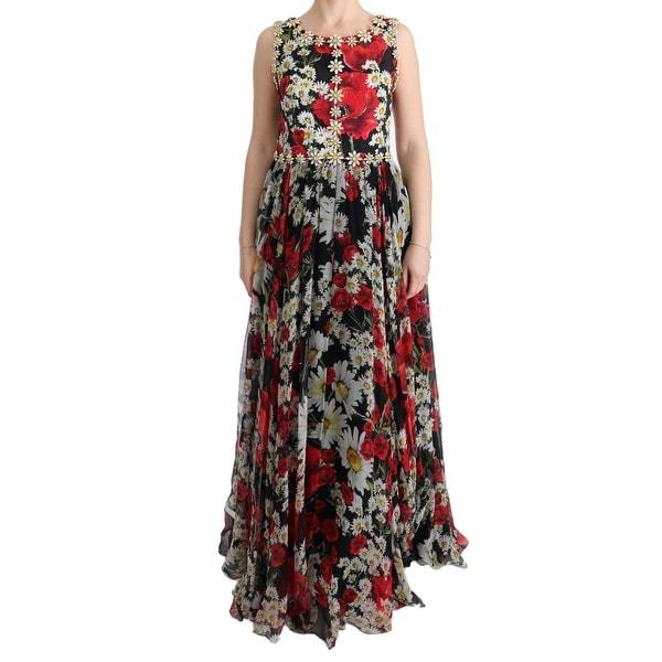 1716cff390f5f Shop Dolce & Gabbana Multicolor Silk Floral Crystal Long Maxi Dress ...