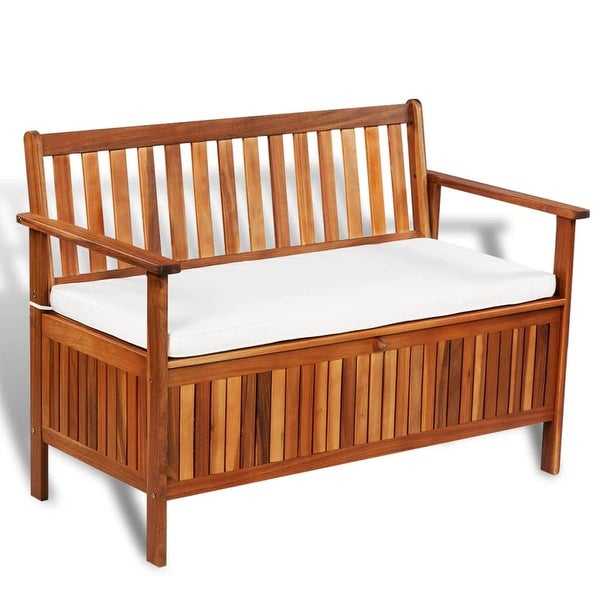 "vidaXL Garden Storage Bench Solid Acacia 47.2""x24.8""x33.1"""