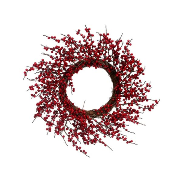 """18"""" Artificial Red Berry Twig Christmas Wreath - Unlit"""